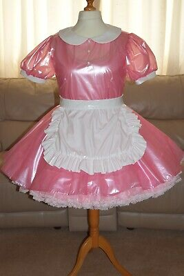 Amazing Clear Pink PVC Adult Sissy Maids Dress with white Apron size 18