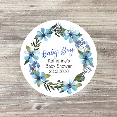 35 x Baby Shower Personalised Stickers, Baby Shower Favours, Baby Boy 37mm