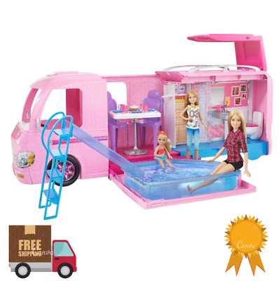 Barbie DreamCamper Adventure Camping Playset w / Accessories Girls Gift Fun Toy