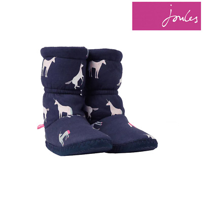 Joules Jnr Padabout Slipper Socks - Navy Unicorns