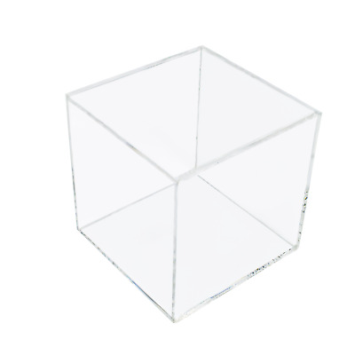 Clear Acrylic 100mm 5 Sided Cube Box Dispenser Display Counter Retail (G91)
