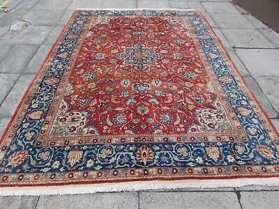 Antique  Traditional Hand Made Oriental Red Blue Wool Large Carpet 300x214cm