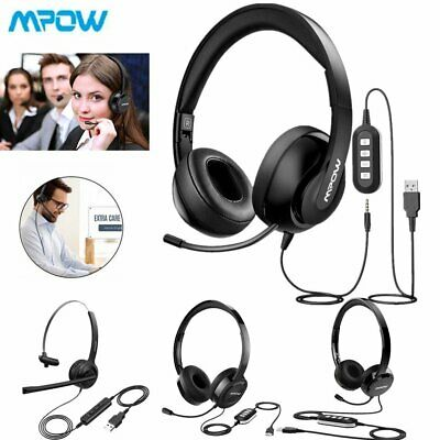Mpow Headset USB 3.5mm Over Ear Wired Headphones with Mic For Computer PC Phone