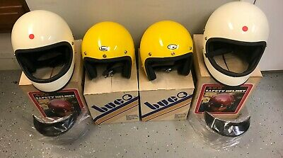4 Vintage ALL SPORT BUCO Motorcycle Helmets Full Face Open Face White Yellow NIB