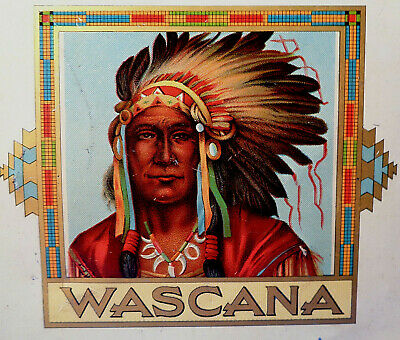 "1945""NATIVE AMERICANS WASCANA-CIGARS"" Indian Chief Cigar Factory Kampen TINPLATE"
