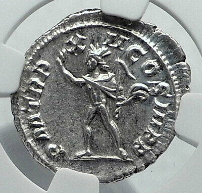 SEVERUS ALEXANDER Authentic Ancient 233AD Rome Silver Roman Coin SOL NGC i81607