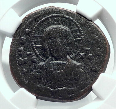 JESUS CHRIST Class A1 Anonymous Ancient 969AD Byzantine Follis Coin NGC i81608
