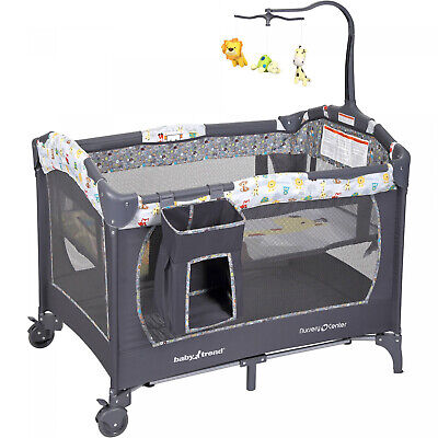 BABY BASSINET Infant Nursery Center Playard Playpen With 2 Large Wheels Gray