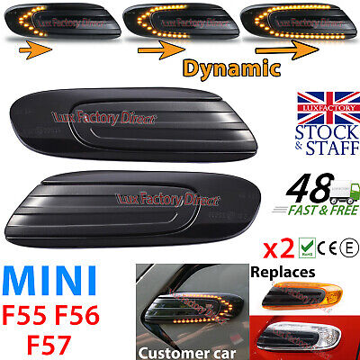 Luxfactory Mini Cooper Side Indicator Turn Repeater Black Smoked Sequential Fade