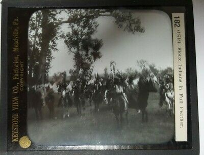 "13 Antique Glass Negatives Plates 4""x3"" (one #182 Sioux Indians in full Feather)"