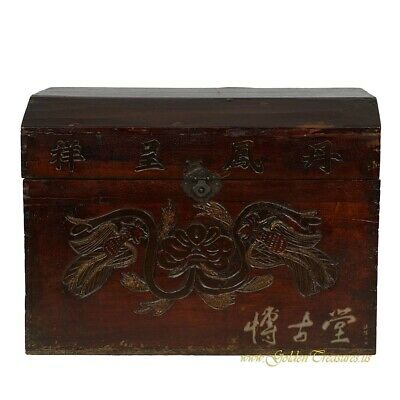 Antique Chinese Carved Wooden Treasures Box