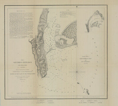 "1853 Coast Survey "" San Diego Entrance & Approaches"""