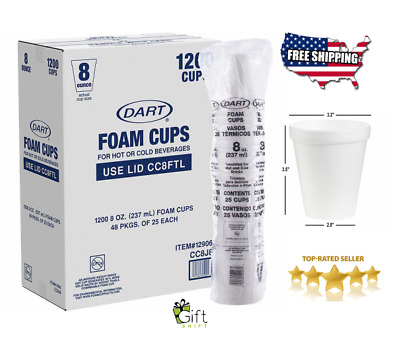 Dart Foam Hot or Cold Cups 8 oz, 1000-count