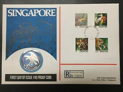 1973 Singapore $10 Dollar Silver Proof & FDC Cover Set Lot#B522 Hutt103 #231/300