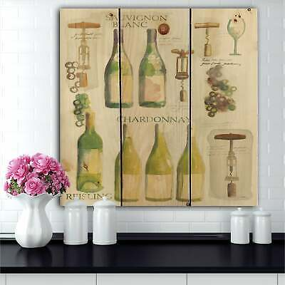 Designart 'White Chardonnay Wine Collage' Food and Beverage  Small