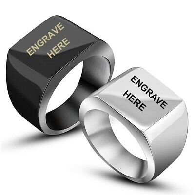 Stainless Steel Flat Square Signet Ring Size 7-12 Black or Silver-Free Engraving