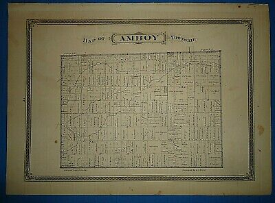 Vintage 1875 AMBOY TOWNSHIP OHIO MAP Old Antique Original Early Americana