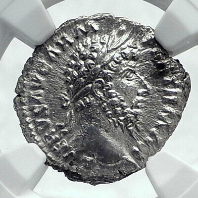 LUCIUS VERUS Authentic Ancient 166AD Rome Silver Roman Coin PAX Peace NGC i81658
