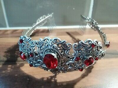 NEW Silver & Red Crown/Tiara Beautiful for Wedding/Gothic/Prom Handmade In...