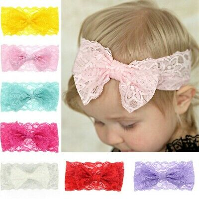Turban Hair Accessories Girls Baby Headband Headwrap Hair Band Lace Bow Knot