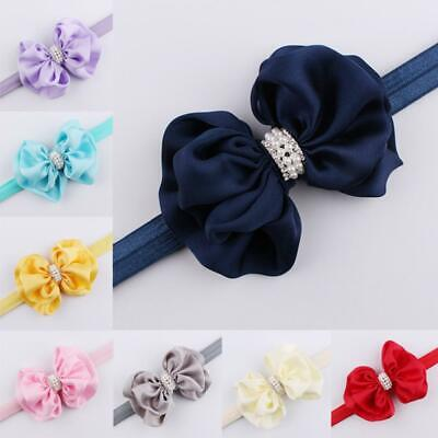 Baby Girl Rhinestone Adjustable Elastic Headband Hair Band Bow Knot Turban