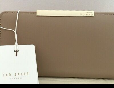 TED BAKER New leather bar Large Zip Around Matinee Purse Nude Taupe/pink Edge