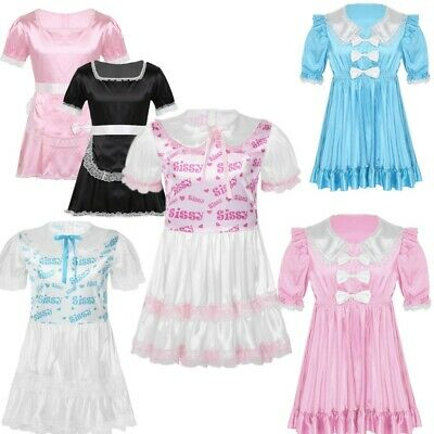 Sissy Mens Satin Lingerie Puff Sleeves Sleepwear French Maid Lace Dress Costume