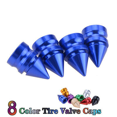 4x Blue Car Bike Motor Wheel Bullet Aluminum Tire Air Valve Stems Cap Dust Cover