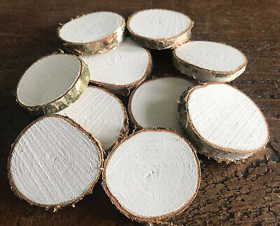 10 White Painted Natural Birch Wood Slices/Embellishments/Card Making/Craft-5cm