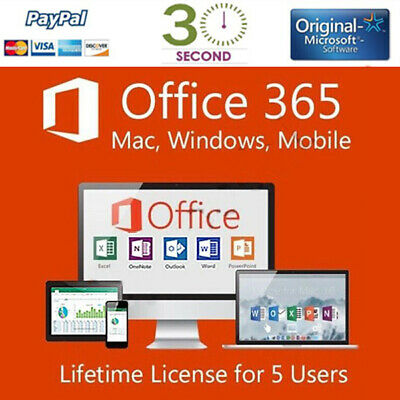 Microsoft Office 365/2016 PRO PLUS Lifetime - license 5 device - Shipping 30 Sec
