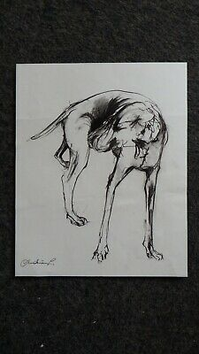 Original signed black expressive chinagraph pencil drawing of a dog on paper