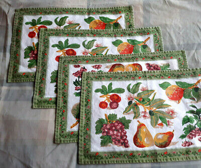 "Set of 4 Cotton PLACEMATS White Center w/Fruits, Olive Floral Border 12""x18"""