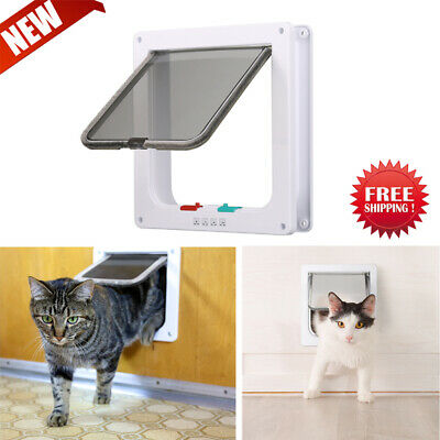 US 4 Way Locking Lockable Pet Cat Dog Magnetic Lock Flap Door Entrance Gate Box
