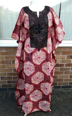 African ankara print dress. Boubou with embroidery. Comes with headtie