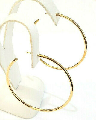 """Authentic Tiffany & Co 750 18k yellow gold 2"""" XL tube hoop post earring MINT"""