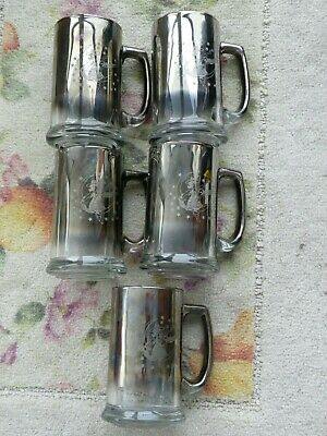 5 Miller High Life  Beer GIRL ON THE MOON STEINS~Silver Fade Glass~RARE mcm vtg