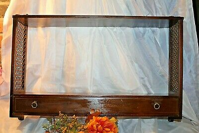 "Vintage Antique Dark Wood Ferguson Wall Curio Display Shelf w/Drawer~25""x15.5"""