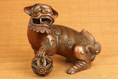 Big Chinese old red copper carving buddha lion fengshui statue figure unique