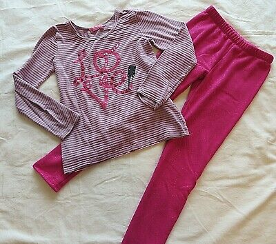 Girls Outfit Gymboree Pull On Pants Pink w Havengirl Stripe Top 10-12  #8583