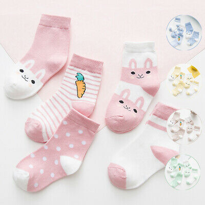 5Pairs Newborn Baby Boy Girl Cartoon Cotton Socks Infant Toddler Kids Soft Socks