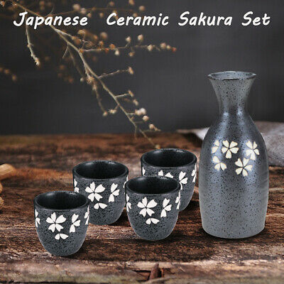 Bottle + 4 Cups Japanese Traditional Sakura Patterned Sake Wine Handmade Ceramic