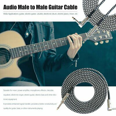 3M Guitar Lead 1 Right Angle Jack Noiseless Braided Tweed Instrument Cable Ms