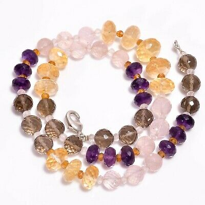 """Natural Amethyst Smoky, Rose Quartz Gemstone Faceted Beads Necklace 20"""" For Gift"""