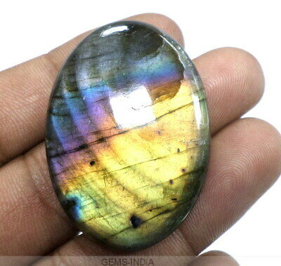 81+Cts Top Multi Fire Labradorite Oval Cabochon Certified AAA Pendant Size Gem
