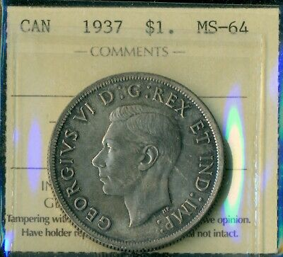 1937 Canada King George VI Silver Dollar ICCS MS-64 Certified XHD 274