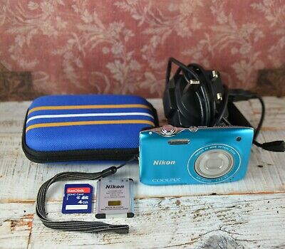 NIKON Rare Blue Coolpix S3100 14MP Wide 5x Zoom VR Digital Compact Camera