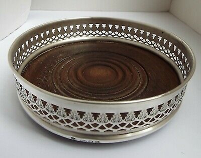 Handsome Large English Antique 1973 Solid Sterling Silver Wine Champagne Coaster