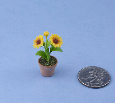 Beautiful 1:12 Scale Dollhouse Miniature Potted Sunflowers #FL6