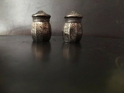 Antique Old Vintage Sterling Silver Mini Tiny Personal Salt Pepper Shakers
