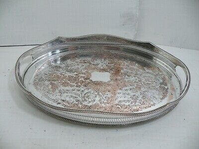 Vintage Sheffield Silver Plated On Copper Gallery Tray